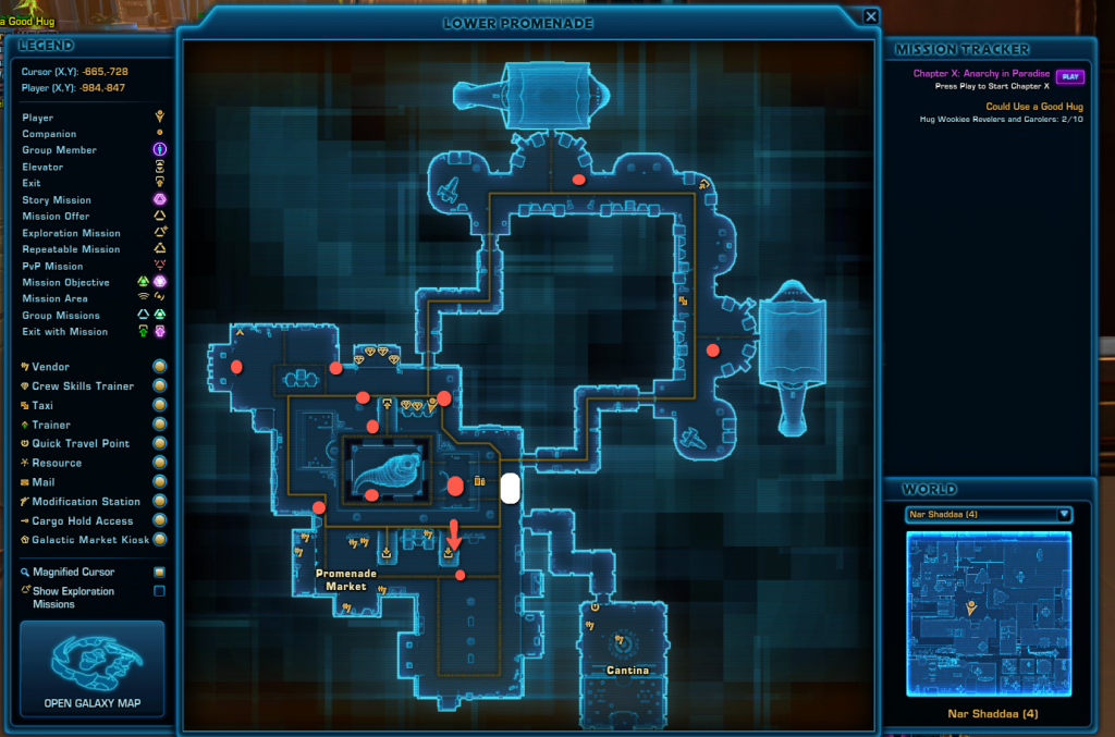 SWTOR Nar Shaddaa Wookie Hugging Achievement Map