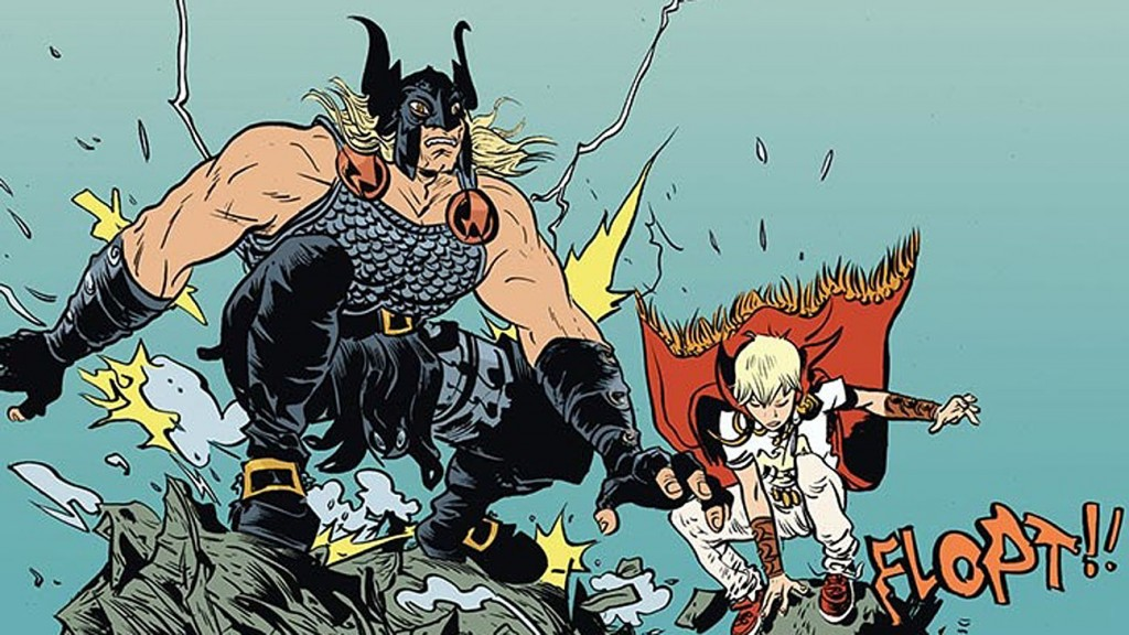 Battling Boy and his father, as drawn by Paul Pope.