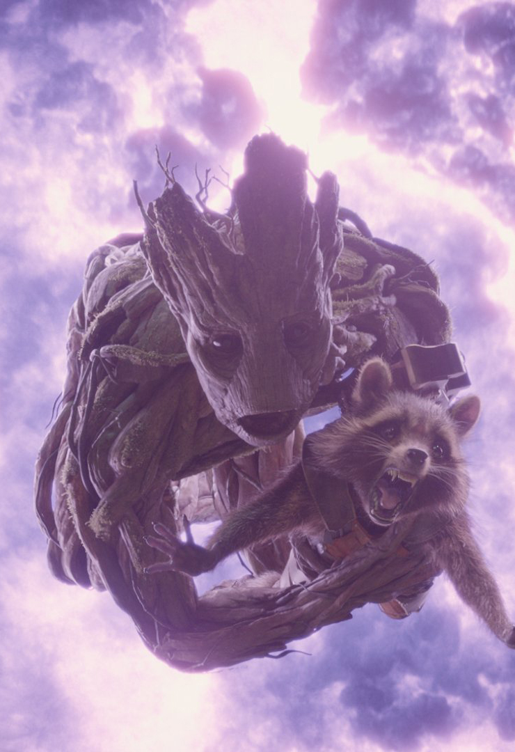 Groot and Rocket are on their way out of the situation.