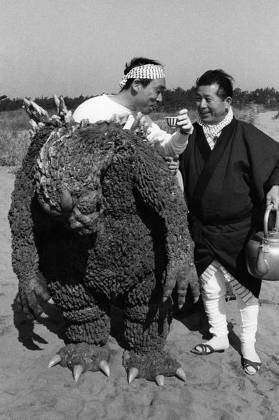 Haruo Nakajima in the Godzilla suit.