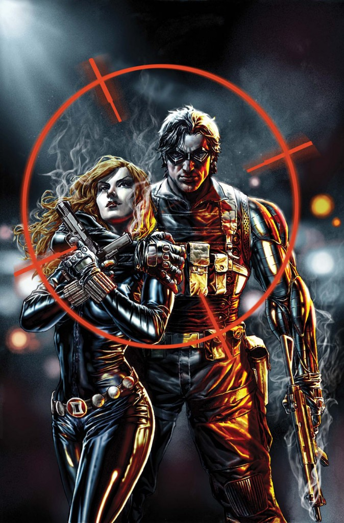 The Soldier and the Widow as depicted in the recent Winter Soldier series. Art by Lee Bermejo.